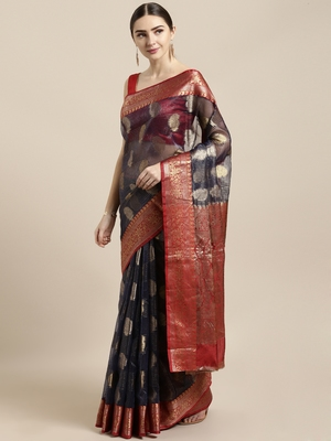 Navy blue woven organza saree with blouse