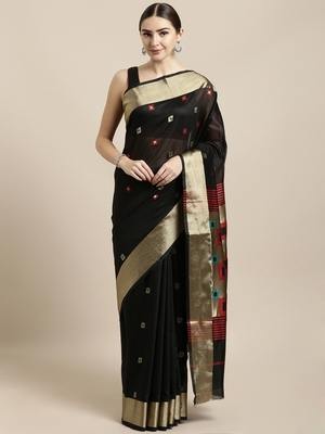 Black woven cotton saree with blouse