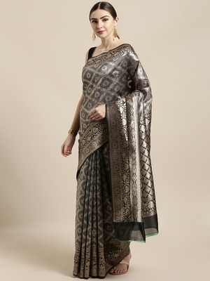 Grey woven raw silk saree with blouse