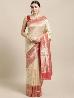 Cream woven raw silk saree with blouse