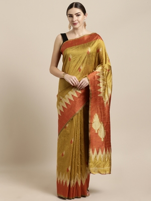 Mustard woven raw silk saree with blouse