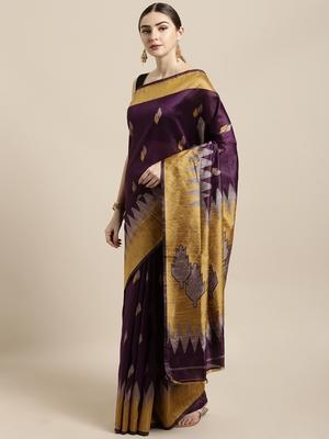 Purple woven raw silk saree with blouse