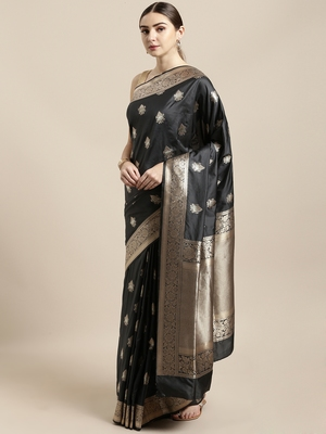 Grey woven silk blend saree with blouse