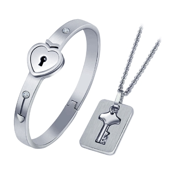 Saizen Stainless Steel Crystal Silver Couple Bracelet Set