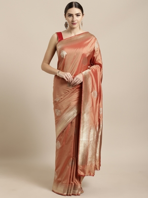 Peach woven silk blend saree with blouse