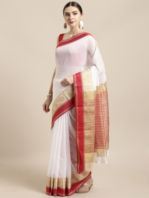 White woven cotton saree with blouse