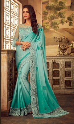 Sky blue embroidered satin saree with blouse