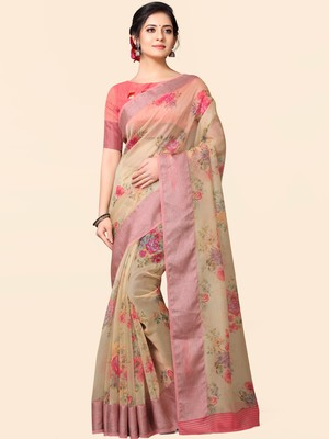 Beige printed faux organza saree with blouse