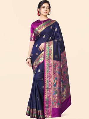 Blue woven paithani silk saree with blouse
