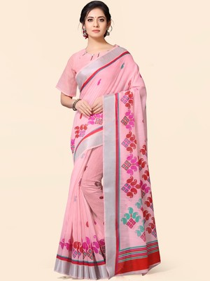 Light pink embroidered pure linen saree with blouse
