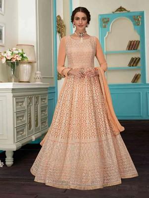 Light Orange Designer Wedding Anarkali Suit