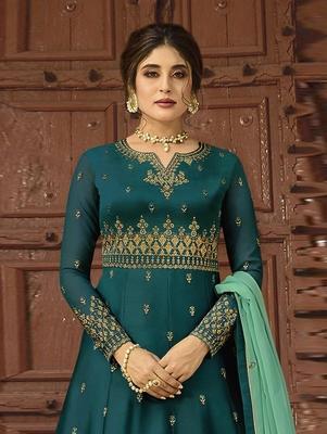 Teal Green Wedding Wear Satin Georgette Plazo Suit