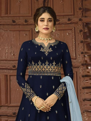 Dark Blue Wedding Wear Satin Georgette Plazo Suit