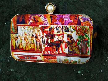 bagzVela Egyptian Print Multicolored Box Clutch Purse