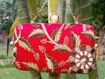 bagzVela Red Designer Box Clutch