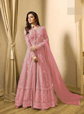 Pink embroidered santoon salwar