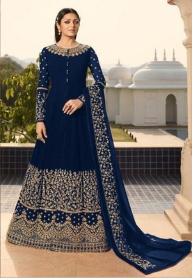 Blue embroidered santoon salwar