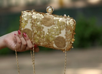 bagzVela Antique Gold Sequin Box Clutch