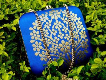 bagzVela Blue Brocade Tree Box Clutch