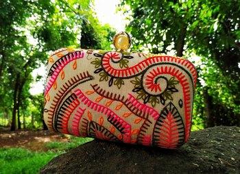 bagzVela Multicolored Embroidered Box Clutch