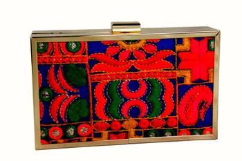 bagzVela Bright Embroidered Sharp Edge Box Clutch Purse