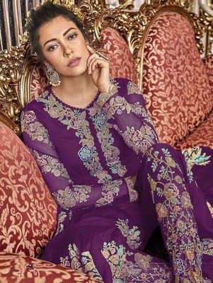 Purple Wedding Wear Satin Anarkali Suit
