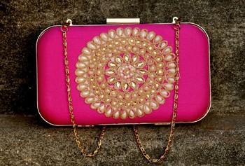 bagzVela Pink Pearl Embossed Rectangular Box Clutch Purse