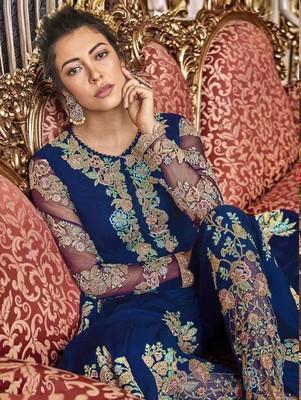 Dark Blue Wedding Wear Satin Anarkali Suit