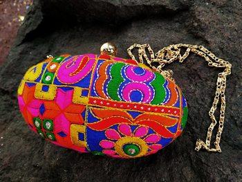 bagzVela Bright Embroidered Oval Box Clutch Purse