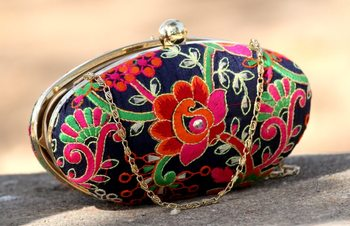 bagzVela Blue Kutch Embroidered Oval Box Clutch Purse