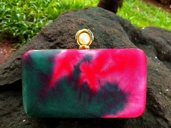 bagzVela Dark Pink & Green Color Clutch
