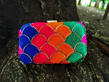 bagzVela Multicolored Kutch Embroidered Box Clutch
