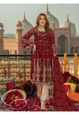 Red embroidered chiffon salwar