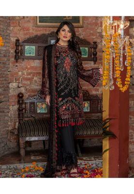 Black embroidered chiffon salwar