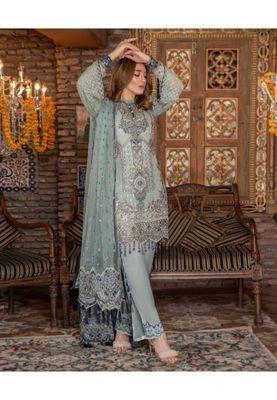 Sky-blue embroidered chiffon salwar