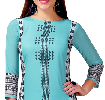 Sky-blue printed crepe kurtas-and-kurtis