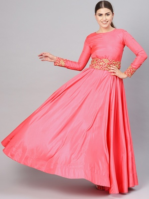 Pink embroidered cotton silk islamic-dresses