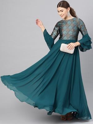 Teal Printed Georgette Islamic Dresses