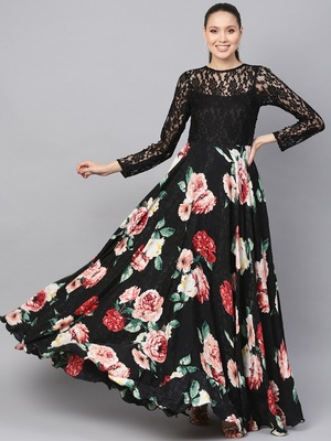 Black printed crepe islamic-dresses