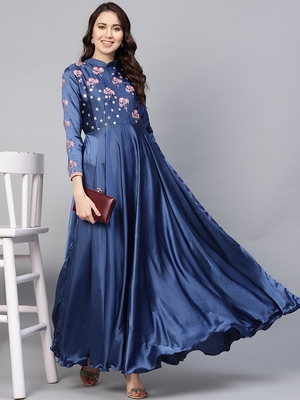 Blue embroidered satin islamic-dresses
