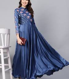 Blue Embroidered Satin Islamic Dresses