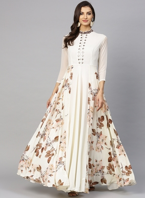 Off white printed georgette islamic-dresses