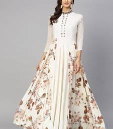 Off White Printed Georgette Islamic Dresses