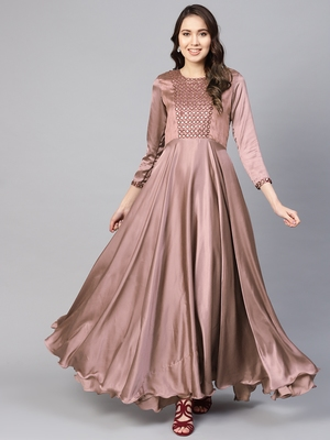 Brown embroidered satin islamic-dresses