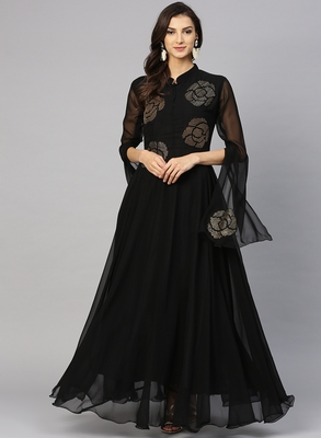 Black embroidered georgette islamic-dresses