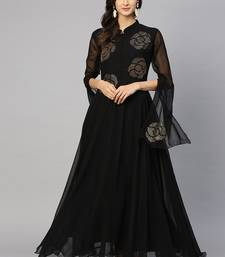 Black Embroidered Georgette Islamic Dresses