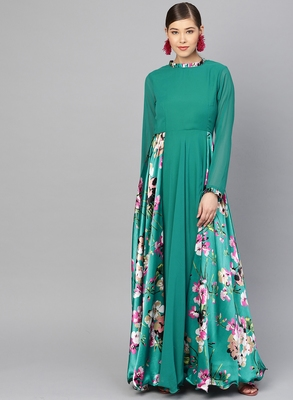 Green printed georgette islamic-dresses