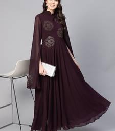 Purple Embroidered Georgette Islamic Dresses