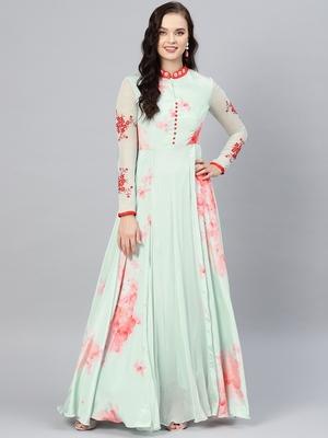 Sea-Green Printed Crepe Islamic Dresses