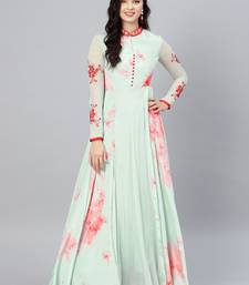 Sea-green printed crepe islamic-dresses